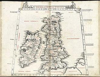 Athy - Ptolemy's map showing Rheban (as Rheba)