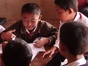 Education in Laos - Primary students in the classroom in a small village school in southern Laos