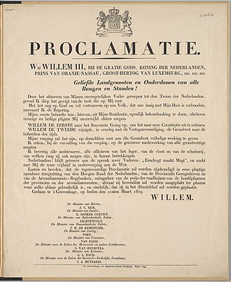 Proclamation - Proclamation of King William III of the Netherlands regarding his accession, 1849
