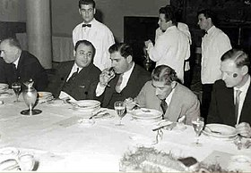 Prof. Haddara at a dinner held by the UNESCO's Director-General Rene Maheu (on his right) in Beirut. 01-02-1960 — in Beirut, Beyrouth..jpg