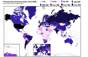 Protectionism - Image: Protectionist measures taken 2008–2013 according to Global Trade Alert