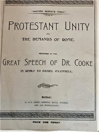 "1899 penny print of Henry Cooke's 1841 speech in ""reply to Daniel O'Connell"""