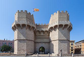Torres de Serranos - Exterior façade of the monumental Serrano gate, built in the 14th century.