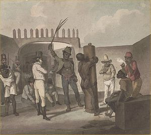 Augustus Earle - Augustus Earle, Punishing negroes at Cathabouco, (i.e. Calabouco) Rio de Janeiro, (1822): watercolour; 23.6 x 26.3 cm. National Library of Australia