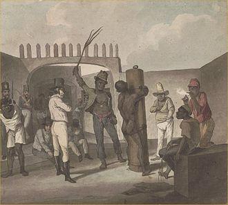 Afro-Brazilians - Punishing slaves at Calabouço, in Rio de Janeiro, c. 1822