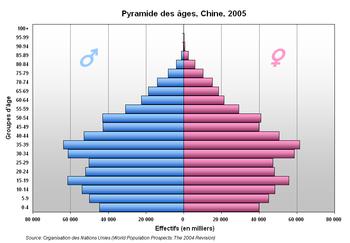 Pyramide des âges de la Chine, 2005