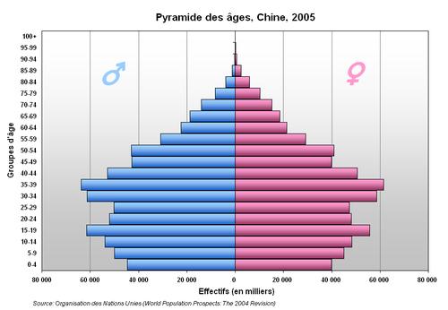 Bevölkerungspyramide Chinas im Jahr 2005