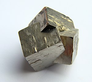 Crystal twinning - Twinned pyrite crystal group