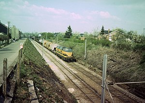 Belgian railway line 96 - A freight train on line 96 in 1982