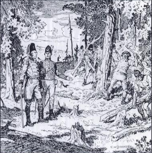 History of Richmond Hill, Ontario - John Graves Simcoe and Augustus Jones, supervising the Queen's Rangers of York cutting trees during the construction of Yonge Street, 1795.