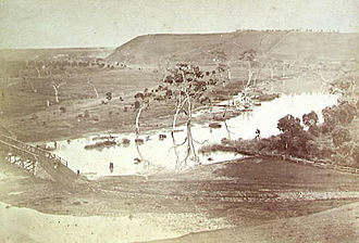 Newtown, Victoria - Queens Park, on the Barwon River, 1866.