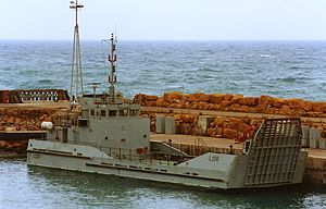 Ramped craft logistic - RCL L106 Antwerp moored in Akrotiri harbour, Cyprus
