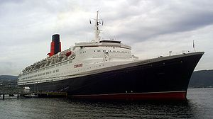 The RMS Queen Elizabeth 2 during a port visit ...