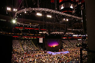 United States presidential election - The floor of the 2008 Republican National Convention at the Xcel Energy Center in Saint Paul, Minnesota.