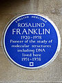ROSALIND FRANKLIN 1920-1958 Pioneer of the study of molecular structures including DNA lived here 1951-1958.jpg