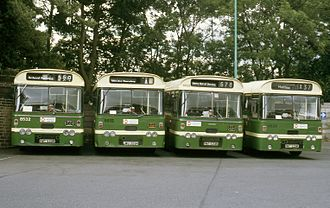 First West Yorkshire - Plaxton Derwent bodied Leyland Leopards at Halifax depot in 1991