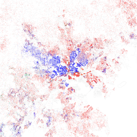 Map of racial distribution in Baltimore, 2010 U.S. Census. Each dot is 25 people: White, Black, Asian Hispanic, or Other (yellow) Race and ethnicity 2010- Baltimore (5559896701).png