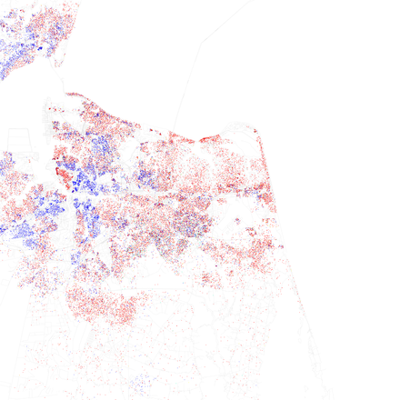 Map of racial distribution in Virginia Beach, 2010 U.S. Census. Each dot is 25 people: White, Black, Asian, Hispanic or Other (yellow) Race and ethnicity 2010- Virginia Beach (5559880747).png