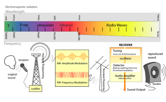 Electromagnetic spectrum and diagram of radio transmission of an audio signal.  NB The colours used in this diagram of the electromagnetic spectrum are for decoration only.  They do not correspond to the wavelengths and frequencies indicated on the scale.