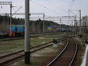 The railway lines at Slavutych station, which take employees to the zone of alienation.