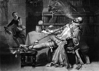 "Walter Raleigh - ""Raleigh's First Pipe in England"", an illustration included in Frederick William Fairholt's Tobacco, its history and associations"