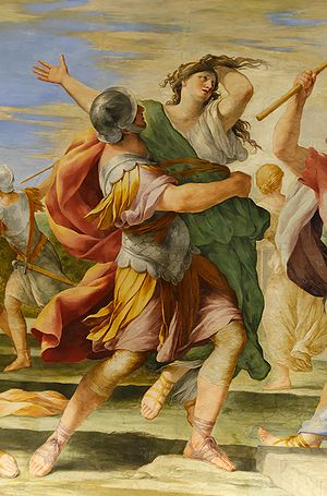 Giovanni Francesco Romanelli - The Rape of the Sabine Women, detail of a fresco in the Queen's Cabinet, Louvre