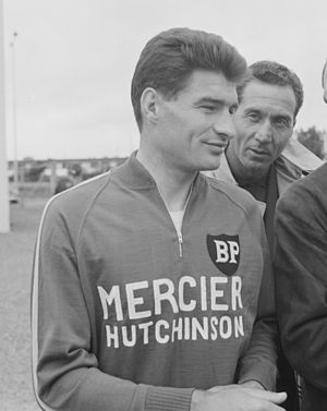 Mercier (cycling team) - Raymond Poulidor (pictured at the 1966 Tour de France) spent his whole professional career with Mercier.