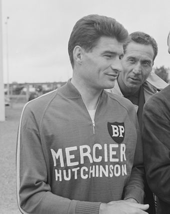 Raymond Poulidor (pictured at the 1966 Tour de France) won the Paris-Nice after taking the lead away from Merckx in the race's final stage, an individual time trial. Raymond Poulidor, Tour de France 1966 (cropped).jpg