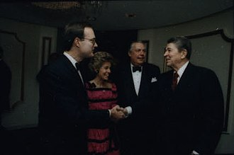 Christopher DeMuth - DeMuth greeting President Ronald Reagan in 1988