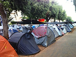2011 Israeli social justice protests - The protest compound on Rothschild Boulevard in Tel Aviv, 21 July 2011