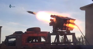 Hama offensive (March–April 2017) - Rebel rocket artillery bombards government positions during the offensive.