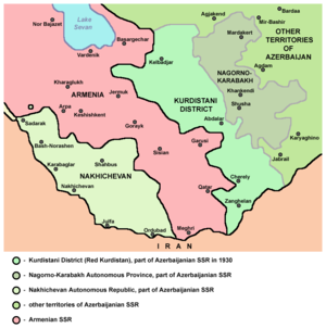 Kurdistansky Uyezd - Map of Kurdistansky Okrug (Red Kurdistan), 1930