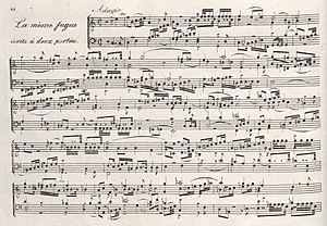 Anton Reicha - Fugue No. 15 from 36 Fugues of 1803 features six subjects developed simultaneously.