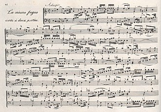 Anton Reicha - Fugue No. 15 from 36 Fugues of 1803 features six subjects developed simultaneously
