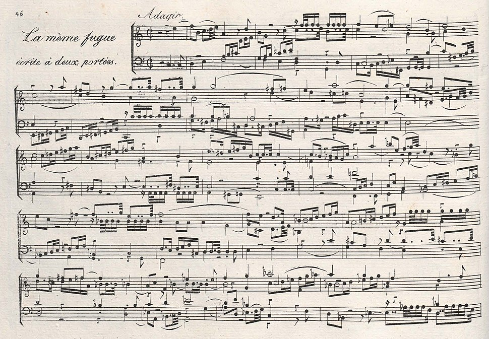 Reicha - Fugue a 6 sujets, opening (2 staves) (facsimile)