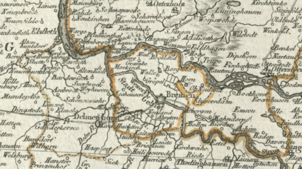 Territory of the Imperial City of Bremen on a late 18th century map Reichsstadt Bremen Territorium - F.A. Schrambl, 1797.png