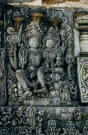 Vishnu - Vishnu with Lakshmi(Laxminarayan) at Halebidu.