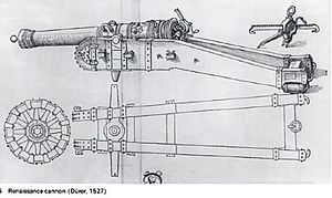 Trunnion - 16th-century depiction of a cannon with trunnions