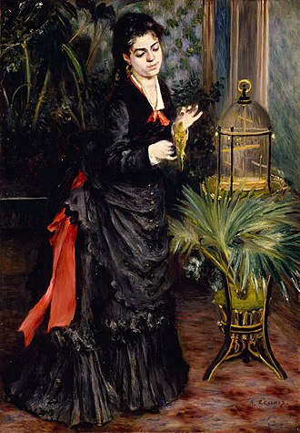 Woman with Parakeet - Image: Renoir woman with a parrot 1871