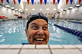 Retired U.S. Air Force Tech. Sgt. Jeanne Goldy-Sanitate smiles after completing a lap in the swimming pool at the U.S. Air Force Academy in Colorado Springs, Colo., May 7, 2010 100507-F-QE915-231.jpg