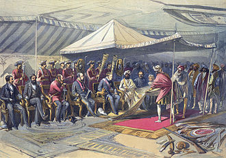 British Raj - Viceroy, Lord Canning, meets the ruler of the princely state of Kashmir and Jammu, Ranbir Singh, 9 March 1860.  Kashmir, like Hyderabad, Mysore, and the states of the Rajputana, supported the British during the Rebellion of 1857.