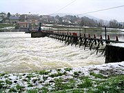 A manually operated needle dam type weir near Revin on the Meuse River, France