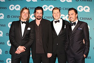 Howzat! Kerry Packer's War - Left to right: Richard Davies (actor), Lachy Hulme, Alexander England and Damon Gameau promoting Howzat! Kerry Packer's War  at GQ Australia Men of The Year Awards 2012