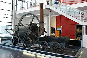 Penydarren - Trevithick's 1804 locomotive. This full-scale replica of steam-powered railway locomotive is in the National Waterfront Museum, Swansea.