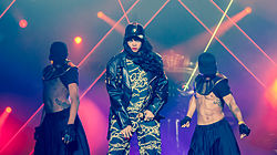 Rihanna with dancers live at Kollen Music Festival 2012.jpg