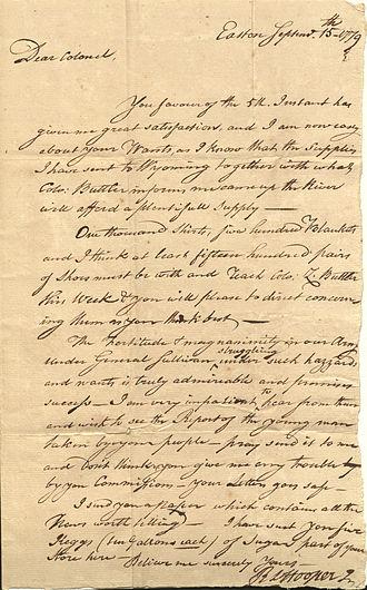 New Jersey Legislative Council - Letter from Robert Hooper to Israel Shreve, 1779