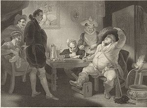 Henry IV, Part 1 - Hal confronting Falstaff with his lies in Henry IV, Part 1, engraving after Robert Smirke