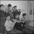 Rohwer Relocation Center, McGehee, Arkansas. A part of the brass section of the High School Band, . . . - NARA - 539378.tif