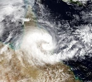 Cyclone Rona–Frank - Satellite image of Severe Tropical Cyclone Rona near landfall on Queensland.