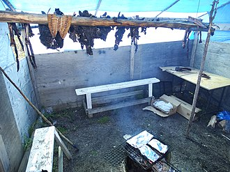 Fort McPherson, Northwest Territories - Image: Room for Drying and Smoking Meat Midway Lake Music Festival Near Fort Mc Pherson Northwest Territories Canada